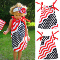 NWT Patriotic Stars & Stripes 4th of July Girls Pillow Case Dress