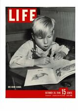 VINTAGE 1946 LIFE MAGAZINE COVER ONE-ROOM SCHOOL BOY AT DESK READING AD PRINT