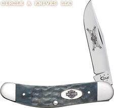 "CASE XX KNIFE- HARLEY-DAVIDSON SOWBELLY GRAY BONE HANDLES #52138 - 3 3/4"" CLOSED"