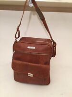 SAMSONITE Carry On Luggage Bag Vintage 1970's Camel Tan Faux Leather Suitcase