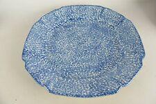 Vintage Blue Splatter Ware Large Serving Plate Dish Platter