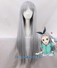 Kanzaki Hideri Blend S Gray Straight Long straight Cosplay Wig +a wig cap
