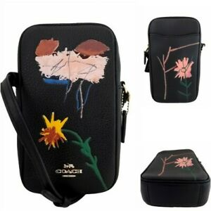 Coach X Jean-Michel Basquiat North/South Zip Leather Crossbody Phone Case C5613