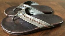 Olukai Mea Ola Brown Leather Flip Flops Sandals Men's sz 10
