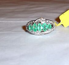 COLOMBIAN GREEN EMERALD OVAL & DIAMOND BAND RING, 925 SILVER, SIZE 8, 1.02(TCW)