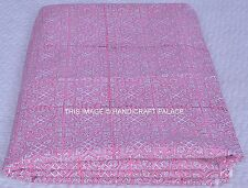 Pink Color Cotton Hand Block Print Handmade Floral Indian Fabric Natural Anokhi