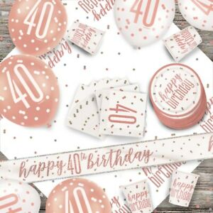 Rose Gold Glitz 40th Birthday Party Supplies Tableware, Decorations, Balloons