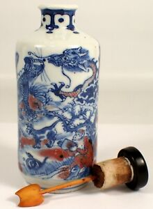Antique Chinese Blue & White Copper Red Porcelain Snuff Bottle 12 Zodiac Animals