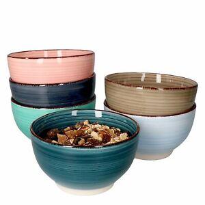 6er Set Oat Bowls Müsli-Schalen bunt 600ml Salat Dessert Schüssel Steingut