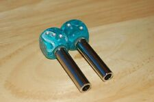 DUDDS DICE AQUA SWIRL w/SILVER DOTS DICE DOOR LOCKS  (SET OF 2)