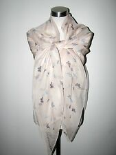"""AUTHENTIC 100% SILK ALEXANDER McQUEEN INSECTS 53""""sq PALE PINK SCARF/SHAWL"""