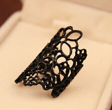 Women Finger Ring Hollow out Flower Alloy Open Ring Vintage Lady Fashion Punk