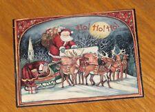 Susan Winget Art - Up on the Housetop - Santa Reindeer - Lang Christmas Card 4ct