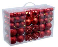 Tolles Set 100 x Weihnachtskugel in ROT und 100 x Metallhaken Weihnachten Deko