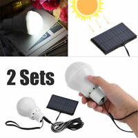 2PCS Portable Bulb Outdoor Indoor Solar Powered Panel LED Lighting System Lights