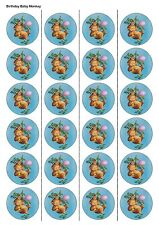 24X PRECUT BABY MONKEY BIRTHDAY EDIBLE WAFER PAPER, CUPCAKE, CAKE TOPPERS 1158