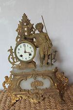 Ancienne pendule horloge - doré - Figurine - Personnage - JAPY Frères XIXème