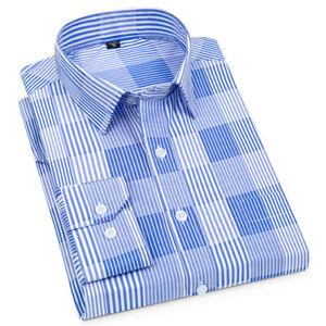 New Mens Dress Shirts Formal Plaids Button Down Long Sleeves Casual Shirts Tops