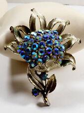 Vtg Coro signed Blue Aurora Borealis Rhinestone Flower Pin Brooch