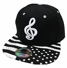 SNAPBACK MUSIK NOTE USA CAP KAPPE BASECAP MÜTZE HIP HOP COOL TRUCKER CAPPY BLACK