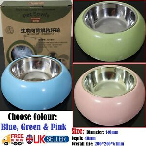 Pet Feeding Dog Cat Single Bowl Station Stainless Steel Water Food Bowls Feeder.