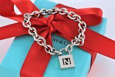 """Tiffany & Co. Sterling Silver Letter """"N"""" Padlock Charm 7.5"""" Bracelet w/Packaging"""