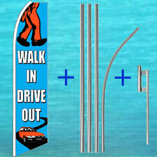 Walk In Drive Out Flutter Flag + Pole Mount Kit Tall Feather Swooper Banner Sign