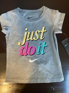 NWT Nike Toddler Girls Grey Just Do It- Swoosh Logo Crewneck T-Shirt sz 3T