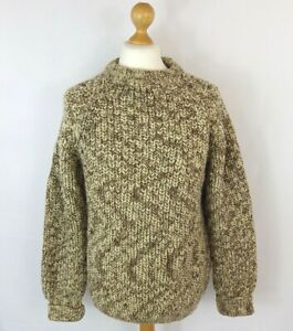 """Vintage brown ribbed thick chunky knit wool fisherman jumper sweater M chest 42"""""""