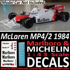 McLaren MP4/2 1984 MARLBORO & MICHELIN tyre water slide DECALS 1:43 Altyla