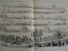 Gravure 1869 - Madrid procession de l'inauguration du Panthéon national