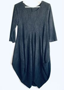 Whispers Size M Textured Black Dress Unusual Asymmetrical Drape Shape 3/4 Sleeve