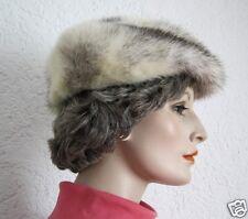 Schöne edle Pelzmütze Pelzkappe Echtpelz Pelzhut weiß mit schwarz Vintage Nr.18