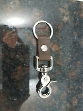 Brown Leather Key chain With Snap clasp and rivet