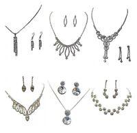 Silver Crystal Diamante Bridesmaid Wedding Party Dress Necklace Earrings Set UK