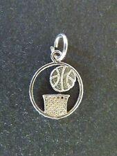 Sterling Silver BASKETBALL Charm Pendant