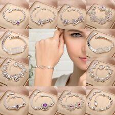 Fashion Jewelry Lady Solid 925 Sterling Silver Gemstone Bracelet Bangle Chain