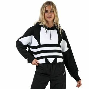 Women's adidas Originals Cropped Large Logo Hoodie Sweatshirt in Black
