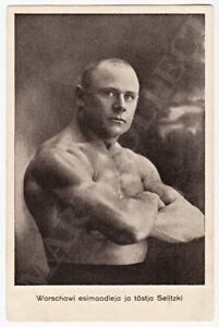 WARSZAWA Wrestler and Weightlifter SELITZKI on Tournament in ESTONIA Card 1920s