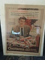 "Vintage Ronald Reagan Chesterfield Cigarette Smoking Advertisement 10 1/4"" X 14"""