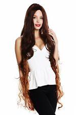 Wig Ladies Long Rapunzel Curls Wavy Middle Part Mahogany Braun Copper