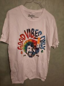 NWT Bob Ross Good Vibes Only Tie Dye Men's PBS Joy of Painting T-Shirt M 38/40