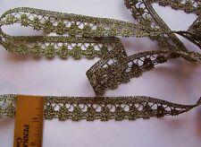 "Vintage Gold ""Genuine Metallic"" Lace Trim For Antique Doll Clothes/Crafts"