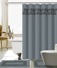 15 Piece Lilian Embroidery Banded Shower Curtain Bath Set (Gray )