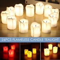24Pcs Flameless LED Candela Tè Luce a Batteria Matrimonio Natale Festa