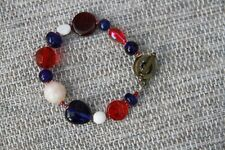 New Red Blue White beaded bracelet Handmade medium size 7.5 inches