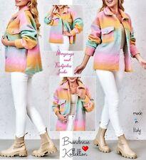 NEU 38 40 M-L Jacke Frühjahr Hemdjacke Pastell Ombre Batik Streifen Hemd * Italy