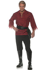 Brand New Striped Pirate Buccaneer Adult Costume (Black/Red)