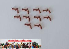 "Lego® 10X Minifig Piraten Waffe Pistole Flintlock Pistol Braun 2562 ""NEUWARE"""