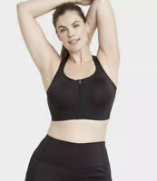 Women's High Support Zip-Front Bra  36DD - All in Motion High Impact Black